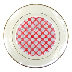 Circles2 White Marble & Red Watercolor Porcelain Plates by trendistuff