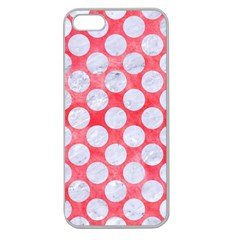 Circles2 White Marble & Red Watercolor Apple Seamless Iphone 5 Case (clear) by trendistuff