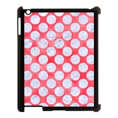 Circles2 White Marble & Red Watercolor Apple Ipad 3/4 Case (black) by trendistuff