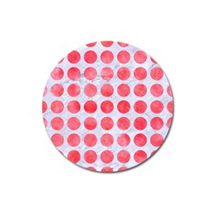 Circles1 White Marble & Red Watercolor (r) Magnet 3  (round)
