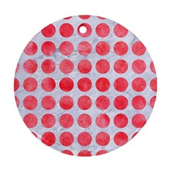 Circles1 White Marble & Red Watercolor (r) Round Ornament (two Sides) by trendistuff