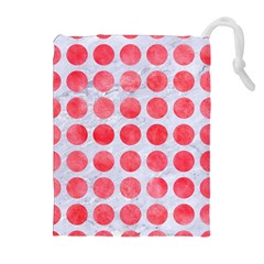 Circles1 White Marble & Red Watercolor (r) Drawstring Pouches (extra Large) by trendistuff