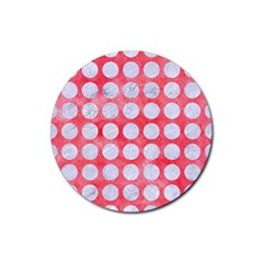 Circles1 White Marble & Red Watercolor Rubber Coaster (round)  by trendistuff