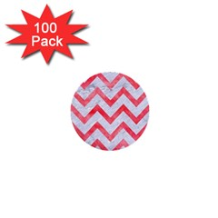 Chevron9 White Marble & Red Watercolor (r) 1  Mini Buttons (100 Pack)  by trendistuff
