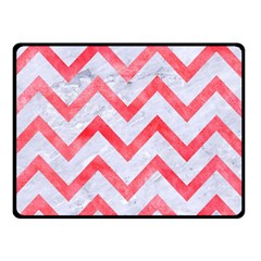 Chevron9 White Marble & Red Watercolor (r) Double Sided Fleece Blanket (small)