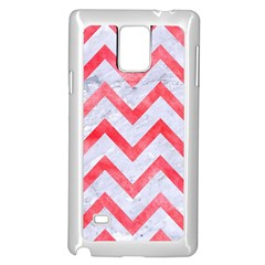Chevron9 White Marble & Red Watercolor (r) Samsung Galaxy Note 4 Case (white) by trendistuff