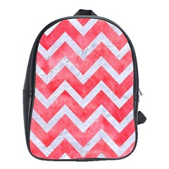 Chevron9 White Marble & Red Watercolor School Bag (large) by trendistuff