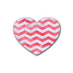 Chevron3 White Marble & Red Watercolor Rubber Coaster (heart)  by trendistuff