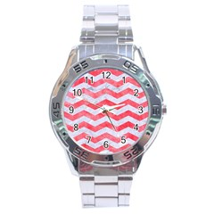 Chevron3 White Marble & Red Watercolor Stainless Steel Analogue Watch by trendistuff