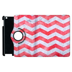 Chevron3 White Marble & Red Watercolor Apple Ipad 2 Flip 360 Case by trendistuff