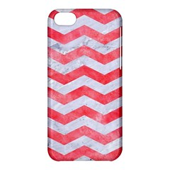Chevron3 White Marble & Red Watercolor Apple Iphone 5c Hardshell Case by trendistuff