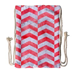 Chevron2 White Marble & Red Watercolor Drawstring Bag (large) by trendistuff