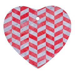 Chevron1 White Marble & Red Watercolor Ornament (heart) by trendistuff