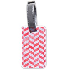 Chevron1 White Marble & Red Watercolor Luggage Tags (one Side)  by trendistuff