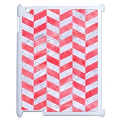 Chevron1 White Marble & Red Watercolor Apple Ipad 2 Case (white) by trendistuff