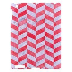 Chevron1 White Marble & Red Watercolor Apple Ipad 3/4 Hardshell Case by trendistuff