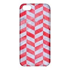 Chevron1 White Marble & Red Watercolor Apple Iphone 5c Hardshell Case by trendistuff