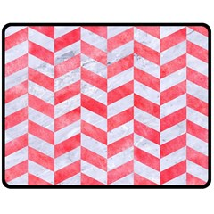 Chevron1 White Marble & Red Watercolor Double Sided Fleece Blanket (medium)  by trendistuff