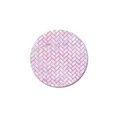 Brick2 White Marble & Red Watercolor (r) Golf Ball Marker (10 Pack) by trendistuff