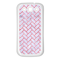 Brick2 White Marble & Red Watercolor (r) Samsung Galaxy S3 Back Case (white)