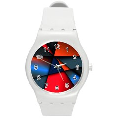 3d And Abstract Round Plastic Sport Watch (m)