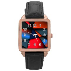 3d And Abstract Rose Gold Leather Watch