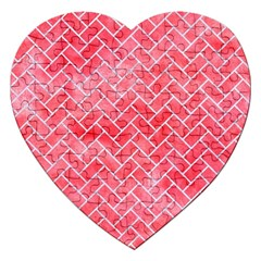 Brick2 White Marble & Red Watercolor Jigsaw Puzzle (heart) by trendistuff