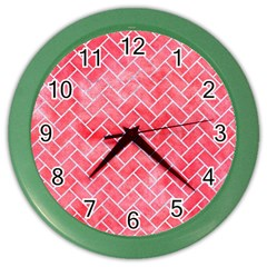 Brick2 White Marble & Red Watercolor Color Wall Clocks by trendistuff