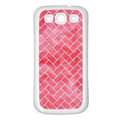 Brick2 White Marble & Red Watercolor Samsung Galaxy S3 Back Case (white) by trendistuff