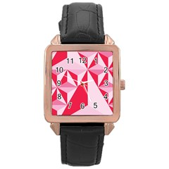 3d Pattern Experiments Rose Gold Leather Watch