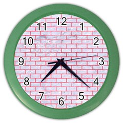 Brick1 White Marble & Red Watercolor (r) Color Wall Clocks by trendistuff