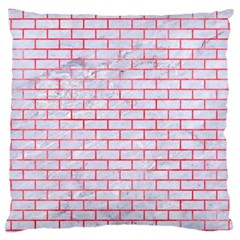 Brick1 White Marble & Red Watercolor (r) Large Cushion Case (one Side) by trendistuff