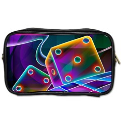 3d Cube Dice Neon Toiletries Bags