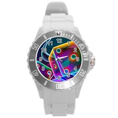 3d Cube Dice Neon Round Plastic Sport Watch (l)