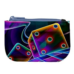 3d Cube Dice Neon Large Coin Purse