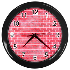 Brick1 White Marble & Red Watercolor Wall Clocks (black) by trendistuff