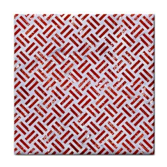 Woven2 White Marble & Red Marble (r) Face Towel by trendistuff