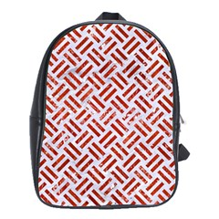 Woven2 White Marble & Red Marble (r) School Bag (large) by trendistuff