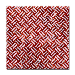 Woven2 White Marble & Red Marble Face Towel by trendistuff
