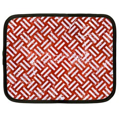 Woven2 White Marble & Red Marble Netbook Case (xl)  by trendistuff