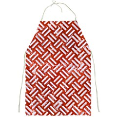 Woven2 White Marble & Red Marble Full Print Aprons by trendistuff