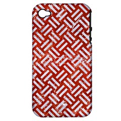 Woven2 White Marble & Red Marble Apple Iphone 4/4s Hardshell Case (pc+silicone) by trendistuff