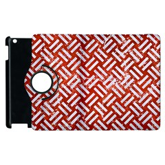 Woven2 White Marble & Red Marble Apple Ipad 2 Flip 360 Case by trendistuff