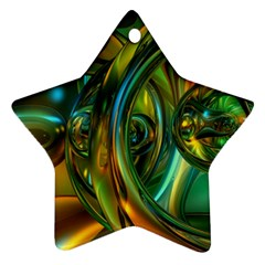 3d Transparent Glass Shapes Mixture Of Dark Yellow Green Glass Mixture Artistic Glassworks Star Ornament (two Sides) by Sapixe