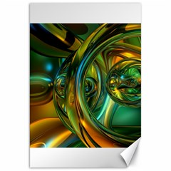 3d Transparent Glass Shapes Mixture Of Dark Yellow Green Glass Mixture Artistic Glassworks Canvas 20  X 30   by Sapixe
