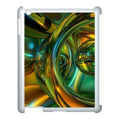 3d Transparent Glass Shapes Mixture Of Dark Yellow Green Glass Mixture Artistic Glassworks Apple Ipad 3/4 Case (white)