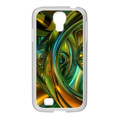 3d Transparent Glass Shapes Mixture Of Dark Yellow Green Glass Mixture Artistic Glassworks Samsung Galaxy S4 I9500/ I9505 Case (white)