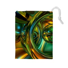 3d Transparent Glass Shapes Mixture Of Dark Yellow Green Glass Mixture Artistic Glassworks Drawstring Pouches (large)  by Sapixe
