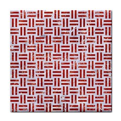 Woven1 White Marble & Red Marble (r) Tile Coasters by trendistuff