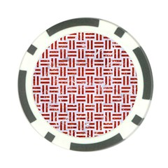 Woven1 White Marble & Red Marble (r) Poker Chip Card Guard